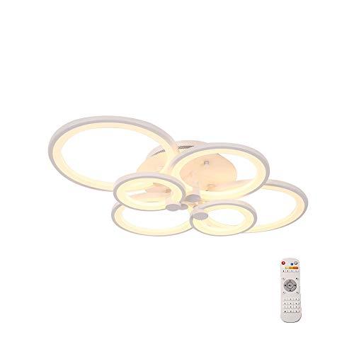 Windsor Home Deco WH-63610-6 Remote Control Chandelier LED, Modern Metal Acrylic Ceiling Lights Semi Flush Mount, Ceiling Lighting