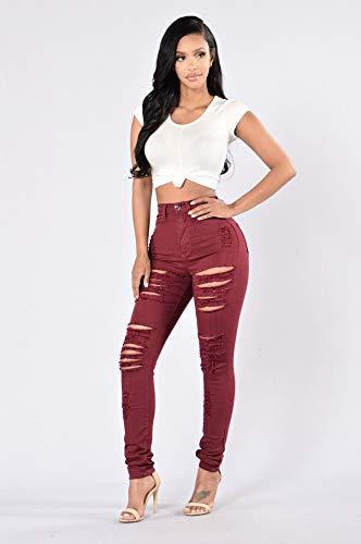 Da Rosso Nuove Attillati Buchi Jeans Mode Alti Elastici Pantaloni Donna Vino Claret Damengxiang IAPEwqx