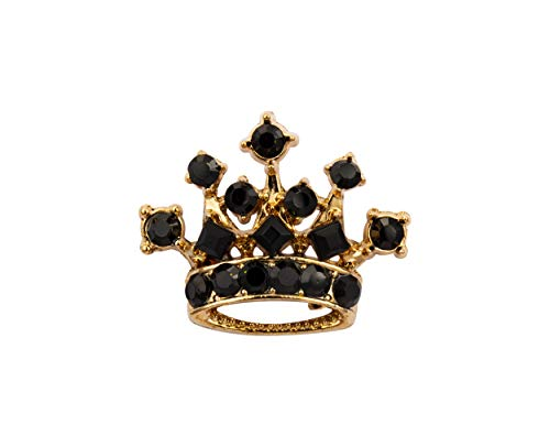 (Knighthood Golden Crown with Black Swarovski Detailing Lapel Pin Brooch Shirt Stud for Men)