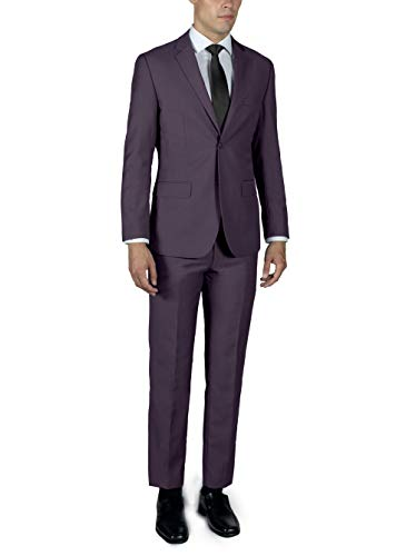 Alain Dupetit Men's Two Button Slim or Regular Fit Suit in Many Colors (Rose, 34 Short (Slim) / 28 Waist)