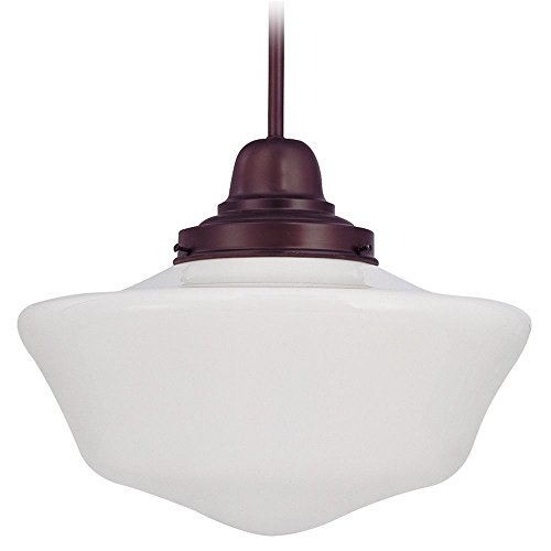 120v Line Voltage Round Canopy (16-Inch Schoolhouse Pendant Light in Bronze Finish)