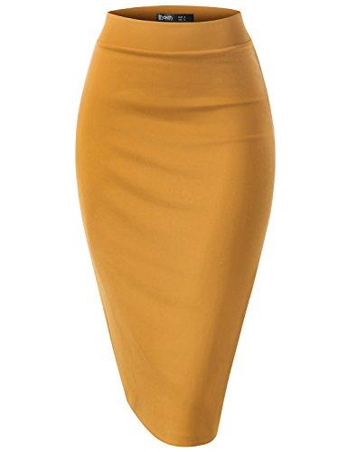Neon Chocolates - TWINTH Women's High Waist Stretch Bodycon Pencil Skirt Turmeric 3XL Plus Size