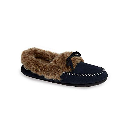 Acorn Women's Cozy Fur Moc Slippers Mineral Blue S