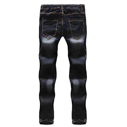 Realdo Hot!Clearance Sale Mens Casual Slim Personality Solid Elastic Splice Work Cargo Trousers Jeans Jogger Pants(30,Black) by Realdo (Image #4)