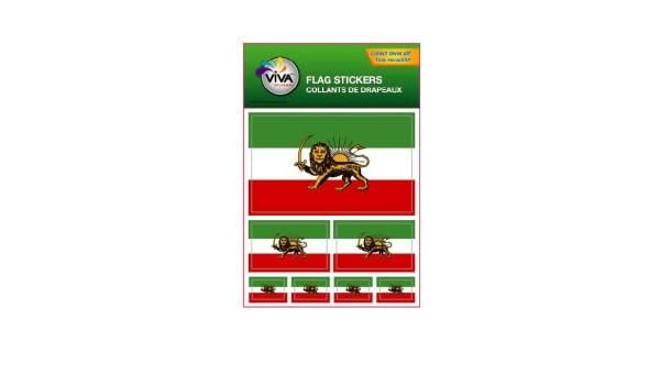 IRAN PERSIAN LION OLD,SET OF 2 COUNTRY FLAG VINYL CAR STICKERS..1 3//8 X 2 3//4 IN