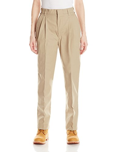 Pleated Womens Slacks - Red Kap Women's Pleated Twill Slacks, Khaki, 18x32