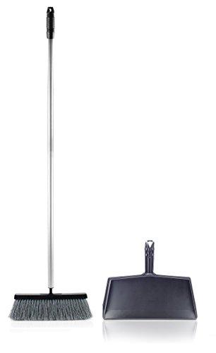 Fuller Brush Deep Reach Black Slender Complete Broom Clip On Dustpan