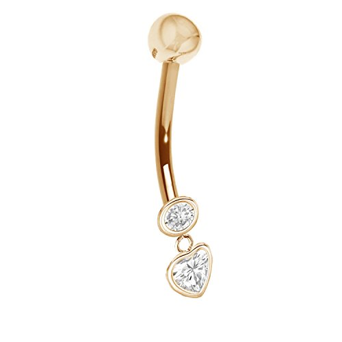 Ritastephens 14k Solid Yellow Gold CZ Dangle Heart Belly Button Navel Ring Body Art 14 gauge (14k Belly Button Gold Ring)