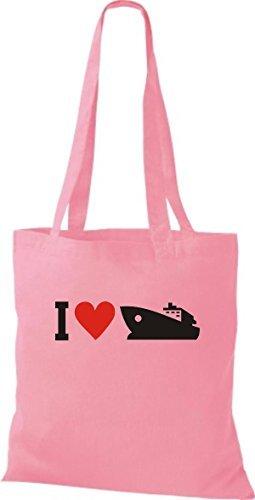 JUTA Borsa di stoffa I LOVE YACHT, Stivale,capitano,SKIPPER - rosa, 38 cm x 42 cm