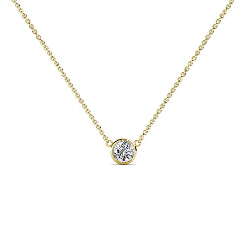 Shine On Round Bazel Diamond Pendant Necklace for Women Set in 14K Solid Gold 18 inch Cable Chain. (Yellow-Gold, 0.07)