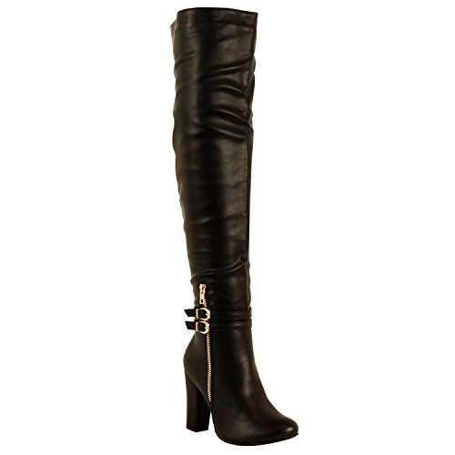 Guilty Shoes Womens Sexy Fashion Block Chunky Heel Fitted Buckle Zipper Over The Knee Boots Boots, Black PU, 6.5 (B) M (Heel Knee Sexy Shoe)