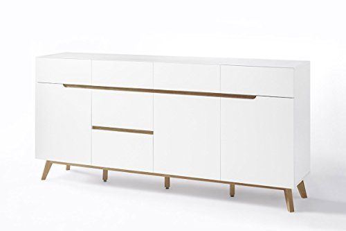 CEERVO 48645WB – sideboard – six drawers and three compartments - white high gloss lacquered matte finish – oak veneer wood – European - Sideboard 3 Drawer Large