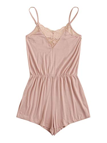 SweatyRocks Women's Casual V Neck Sleeveless Contrast Lace Solid Pajama Jumpsuit Pink S