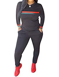 2b6387744f Women 2 Pieces Sports Tracksuits Outfits Long Sleeve Top and Long Bodycon  Pants Sweatsuits Set