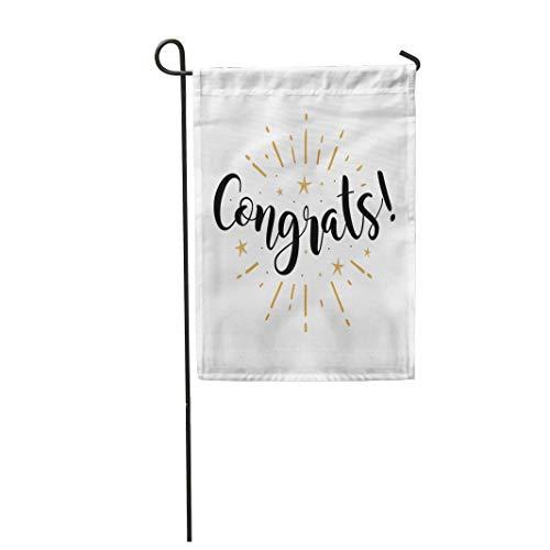 (Semtomn Garden Flag Congrats Beautiful Black Text Word Gold Fireworks Star Modern 12