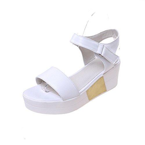 AllhqFashion Mujeres Material Suave Puntera Abierta Velcro Sólido Plataforma Sandalia Blanco