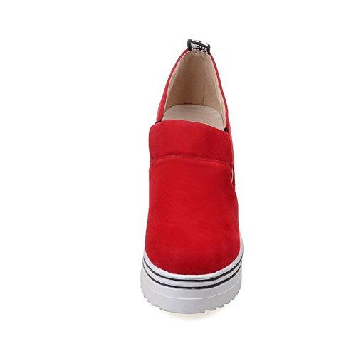 Balamasa Dames Verhogen Binnenkant Elastiek Band Platform Frosted Pumps-schoenen Rood