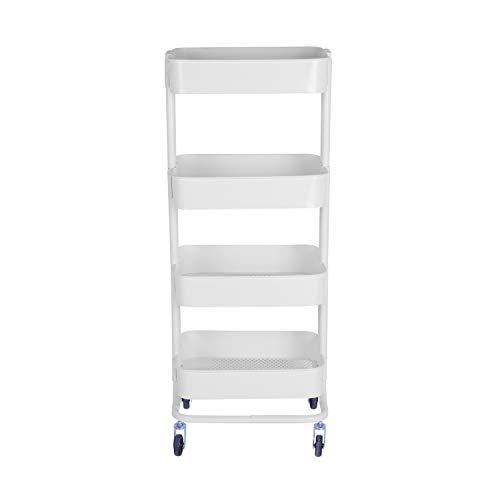 WONLINE 4-Tier Mental Rolling Storage Cart, Mobile Tier Storage Shelves Organizer Trolley Bathroom Book Art Utility Cart on Wheels ()