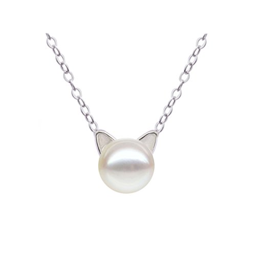 S.Leaf Sterling Silver Cat Necklace Freshwater Cultured Pearl Cat Collarbone Charm Necklace