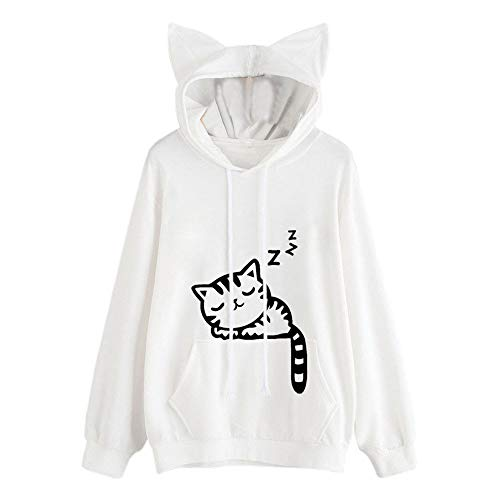 Sweatshirt Cat Tops Hoodie Pullover Sleeve Womens White Blouse Hooded Long I4dxgPdqw