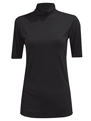 MA ONLINE Womens Fancy Stretch Plain Polo Neck Top Ladies Short Sleeve Turtle Neck Party Jumper Black US - Top Neck Polo