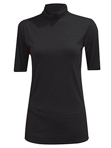 MA ONLINE Womens Fancy Stretch Plain Polo Neck Top Ladies Short Sleeve Turtle Neck Party Jumper Black US 8-10