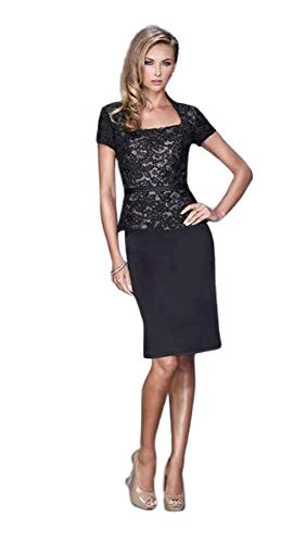 (La Femme - Floral Lace Cocktail Dress 21641 Black)
