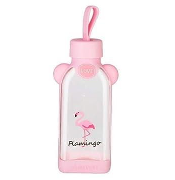 COOLBOTTLE 350Ml Botella de Agua de Vidrio con Tapa Antideslizante de Silicona Flamingo de Dibujos Animados