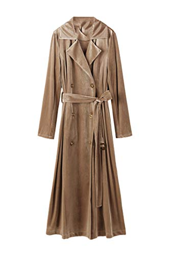 CHANGYUGE Spring Autumn Women Gold Velour Long Trench Coats