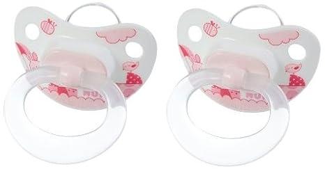 Nuk 710103 - Chupetes de silicona (2 unidades, talla 1), color rosa