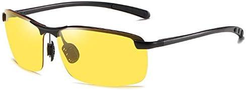 サングラス メンズ スポーツ カラーミラー男性の半分フレーム偏ナイトビジョン感光サングラス茶灰色の駆動サングラスを変更 (Color : Yellow, Size : ONE SIZE)