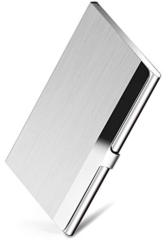 Metal Business Card Case Holder - MaxGear Professional Business Card Holder Business Card Case Stainless Steel Card Holder, Keep Business Cards in Immaculate Condition, 3.7 x 2.3 x 0.3 inches, Silver
