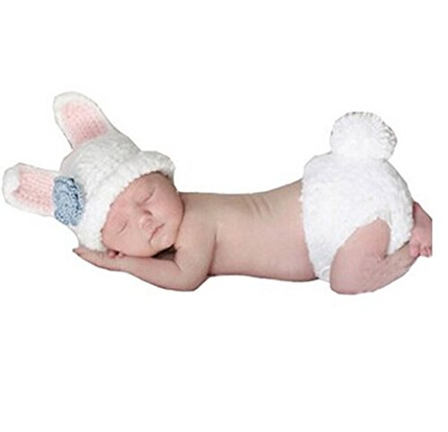 Veewon Fashion Baby Infant Newborn Costume Photo Hat Clothes Baby Photograph Props (Bunny) ()