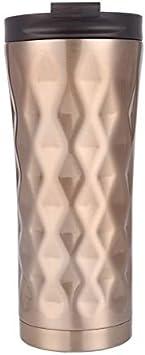 YIYATIANCHENG Acero Inoxidable Revestimiento Interior de cerámica Aislante Mu 500ml Irregular de Doble Capa de Acero Inoxidable 304 Termo Copa (Negro) Duradero y Sofisticado Copa (Color : Gold)