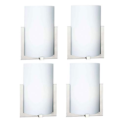 Philips Forecast 12 Inch Bow 1 Light Bedroom Wall Sconce, Satin Nickel Finish (4 Pack) -