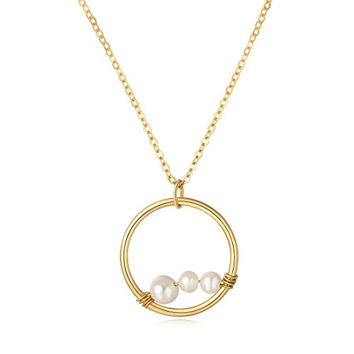 (SEUSUK Pearl Necklace Gold Birthstone Dainty Chain 14K Gold Fill 3 Generations Family Grandma Mom Daughter Friendship Best Friend Circle Pendant Drop Simple Delicate Handmade Jewelry for Women Gift)