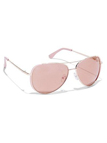 New York & Co. Women's Colored-Rim Aviator Sunglasses 0 Rose Gold Metallic - York New And Company Sunglasses