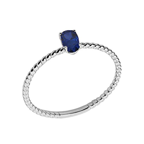 (Dainty 10k White Gold Stackable Oval-Shaped Sapphire Rope Engagement/Promise Ring (Size 7.5))
