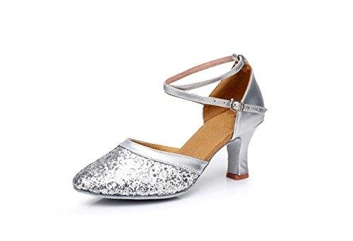 per latino UK5 ballo ballo CN38 sala 5 ballo moderne da scarpe per cm adulti scarpe altezza da scarpe EU38 con scarpe ballo da ShangYi 5 Paillettes con da 8Eq44n