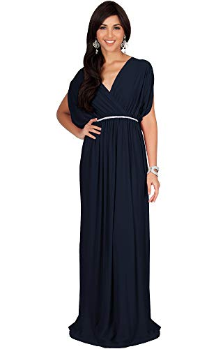 - KOH KOH Plus Size Womens Long Cocktail Empire Waist Short Sleeve Formal V-Neck Bridesmaid Summer Flowy Bridesmaids Wedding Guest Grecian Gown Gowns Maxi Dress Dresses, Navy Blue 3XL 22-24
