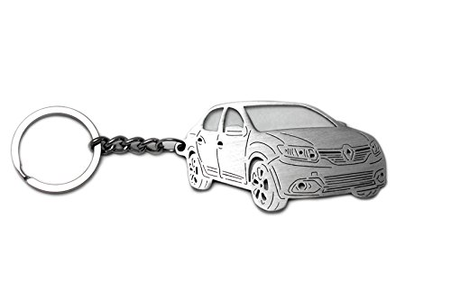 Stainless Steel Keychain suitable for Renault Dacia Logan II-generation 2013-2017 Laser Cut Key Chain with Ring Car Body Profile Design 3D Keychains