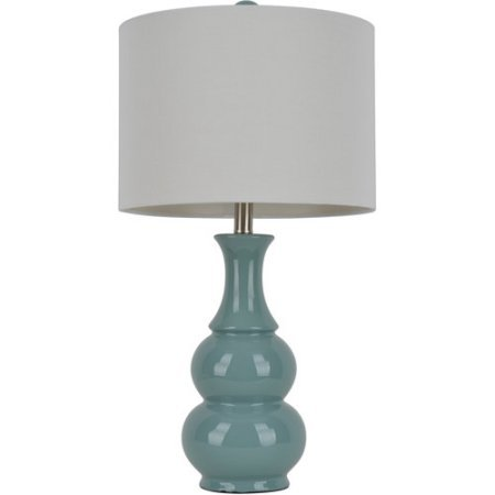 Dark Teal Double Gourd Ceramic Table Lamp 14 X 14 X 10 Round