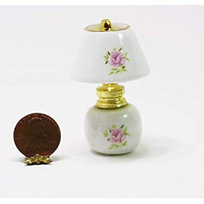 Dollhouse Miniature 1:12 Scale Ceramic Non-Electric Lamp with Rose Design: Toys & Games