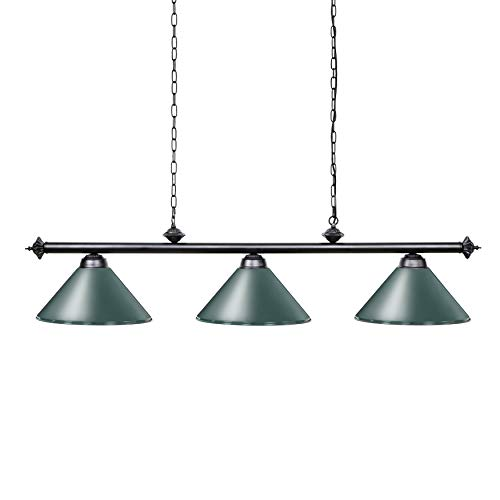 Wellmet 59 Inch Island Light, 3-Light Vintage Industrial Retro Kitchen Island Counter Pendant with Metal Shades, Perfect for Men's Cave, Kitchen, Dinning Room, Bar 3 Shade Billiard Light
