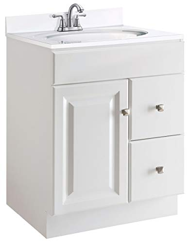 "Design House 545053 Wyndham White Semi-Gloss Unassembled Vanity without Top features 1-Door and 2-Drawers, 24"" Wide x 31.5"" Tall x 21"" Deep"