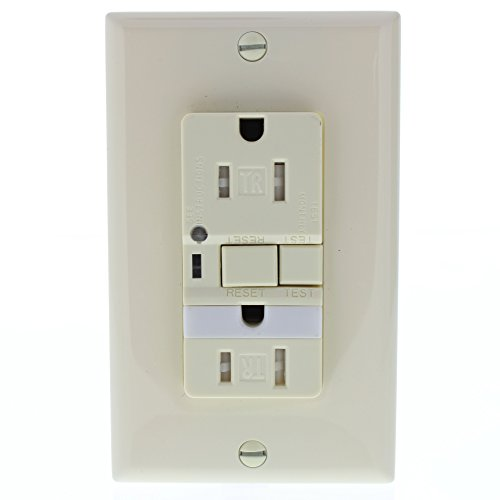 EATON Wiring TRVGFNL15A Tamper Resistant 15-Amp Combination GFCI Receptacle with Nightlight, Almond Finish