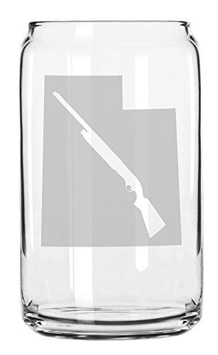 State of Utah with Shotgun Cutout Etched Can Glass 16oz