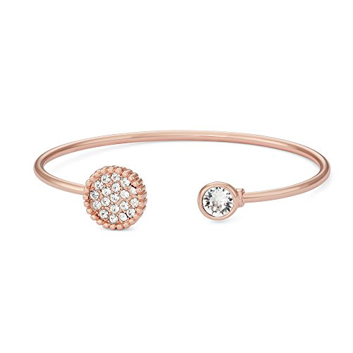 Collection Bijoux 14K Rose Gold Plated Pave Crystals Circle Bangle Bracelet, Made with Swarovski Crystals