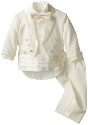 Joey Couture Baby Boys' Tuxedo Suit No Tail, Ivory, 12 Months/Medium
