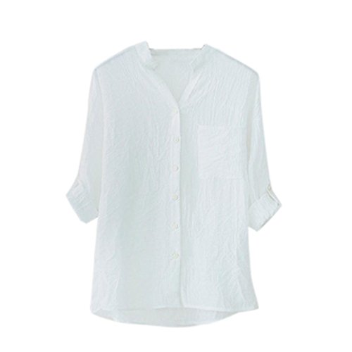 Tulle Italian (MENOW Women Cotton Solid Long Sleeve Shirt Casual Loose Blouse Button Down Tops (L, White))
